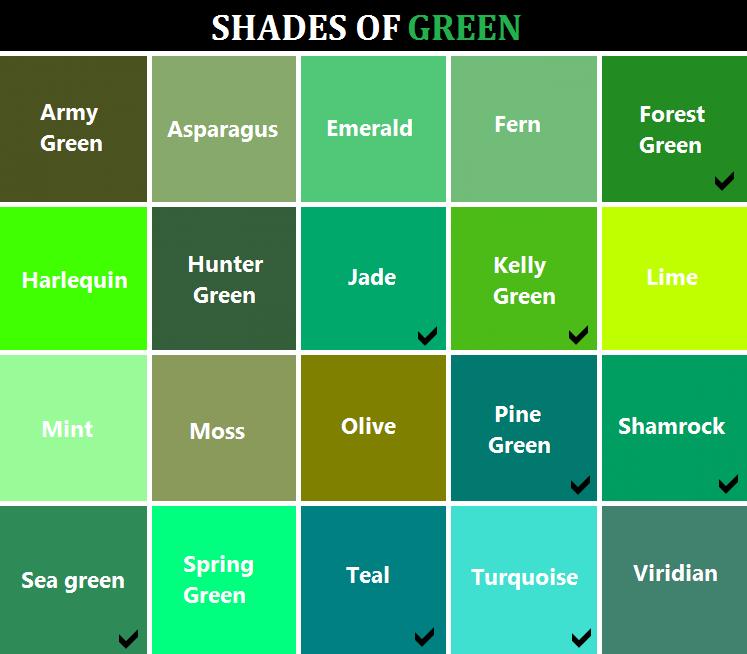 Green shades range