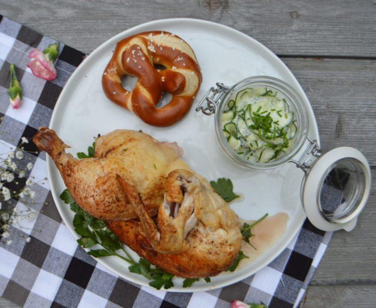 Oktoberfest roast chicken and pretzel