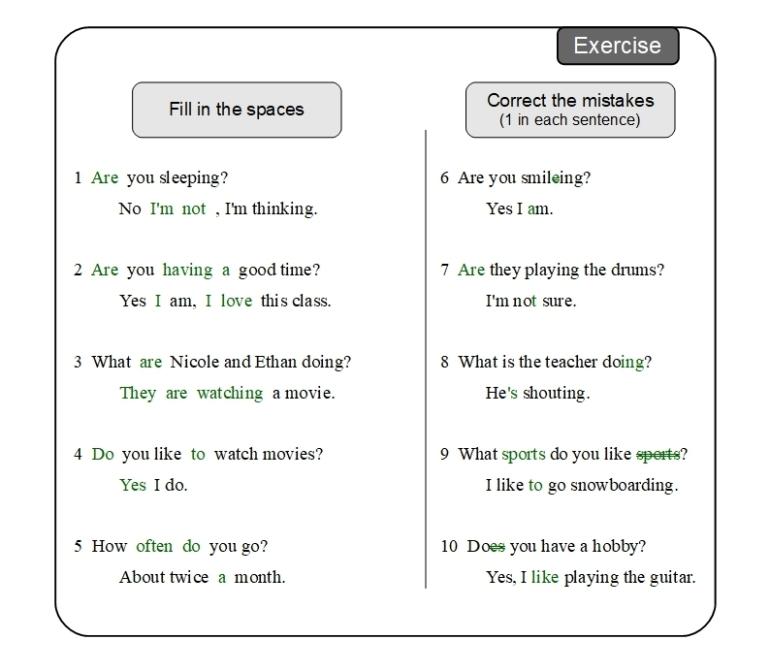 Unit 8 Exercise answer