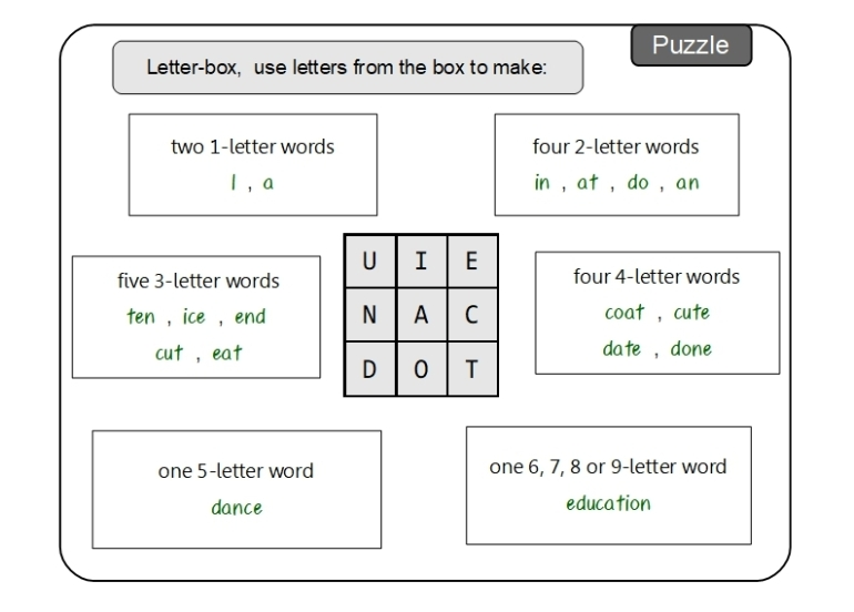 Unit 13 Puzzle sample answer