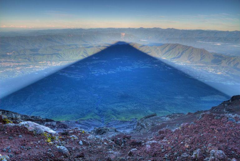 Mt Fuji sunrise shadow