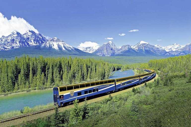 Train travel, Rocky Mountains, Canada