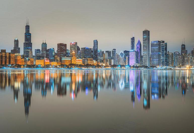 Chicago city reflected in Lake Michigan