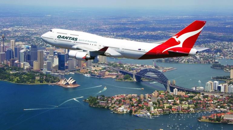 Qantas over Sydney Harbour