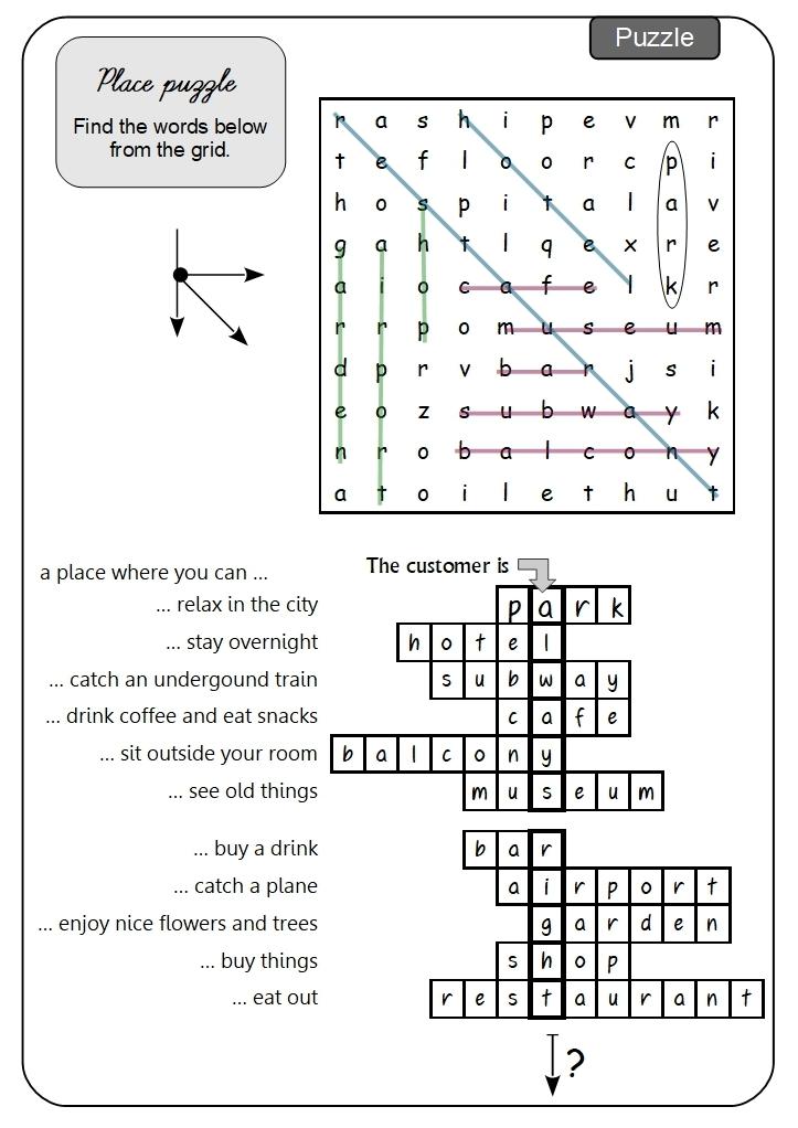 Unit 1 Place puzzle answer