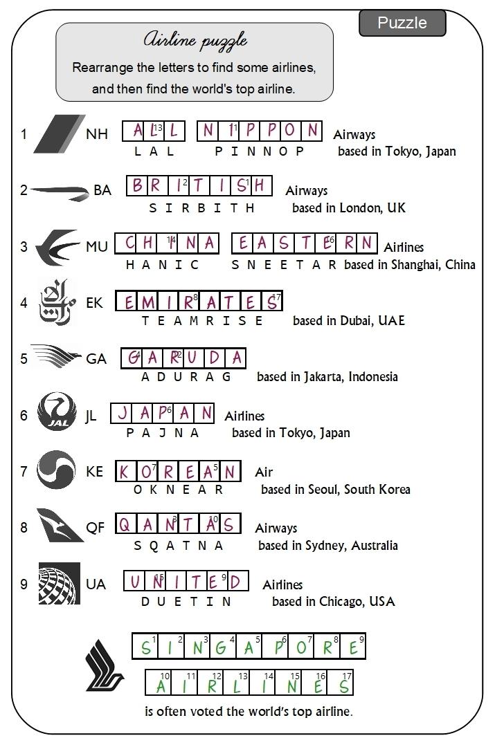 Unit 2 Airline puzzle answer