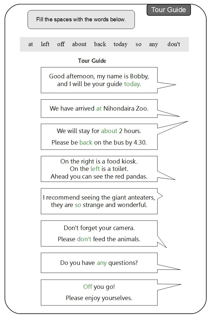Unit 11 Tour Guide answer