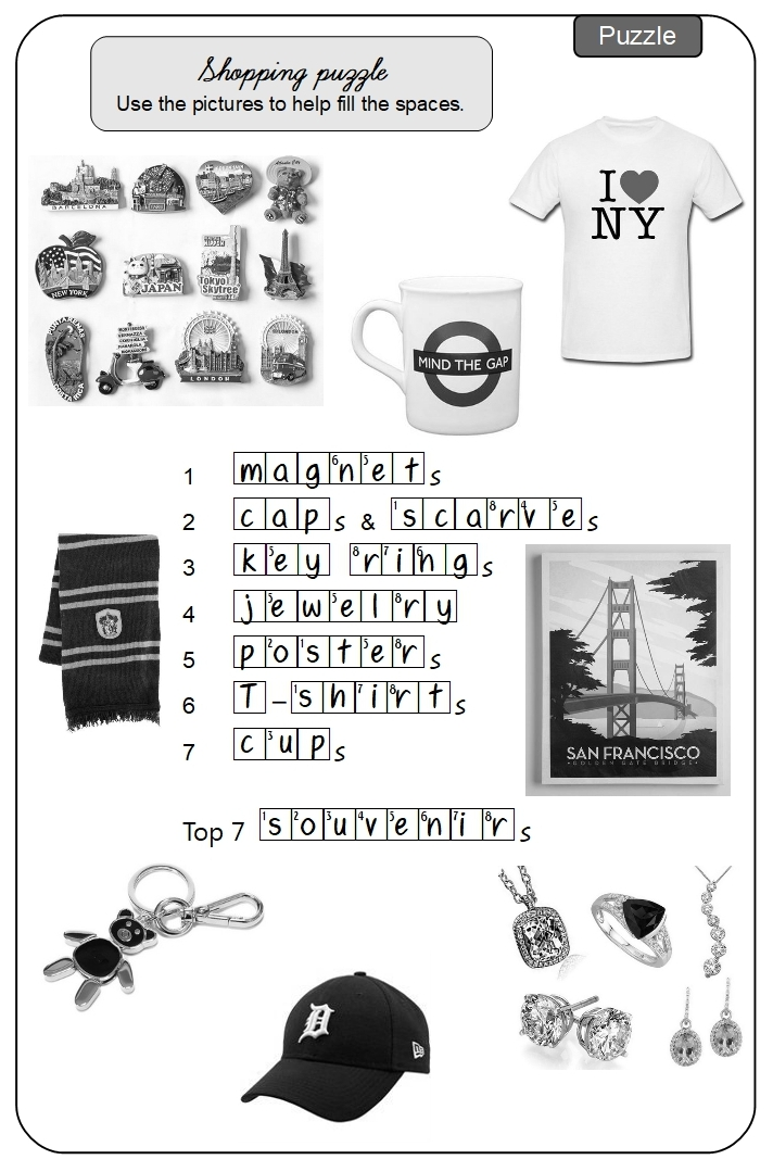 Unit 12 Shopping puzzle answer